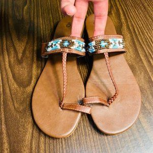 SO Boho Beaded Brown Sandals Size 10